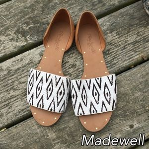 Madewell tribal leather slide sandal sz 8 1/2